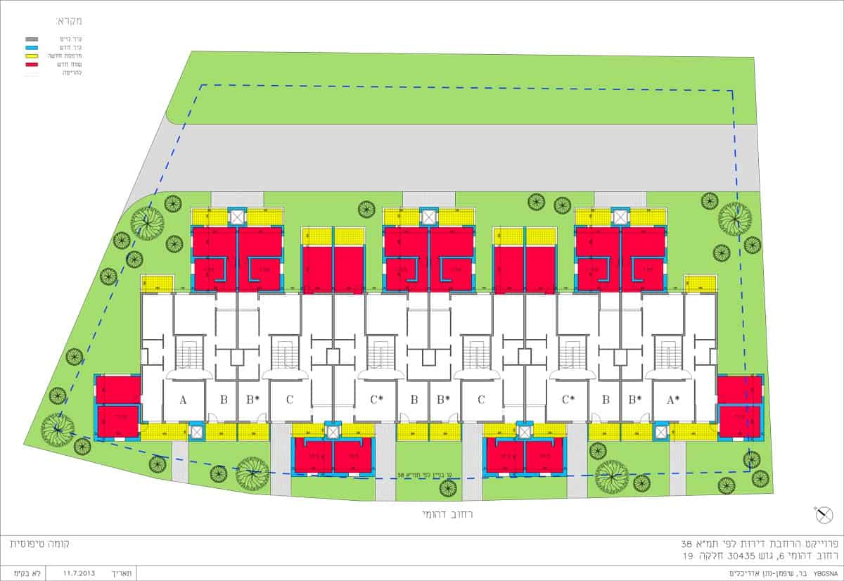 """תמ""""א 38 ברחוב דהומיי 6, ירושלים - תוכנית קומה טיפוסית"""