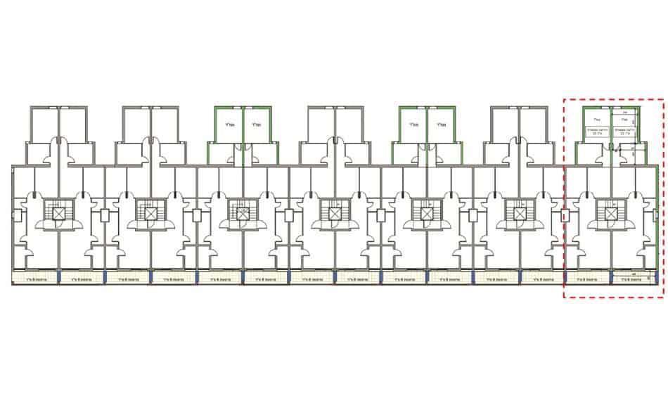 בר יוחאי 18, ירושלים - תוכנית קומת קרקע של פרויקט תמא 38
