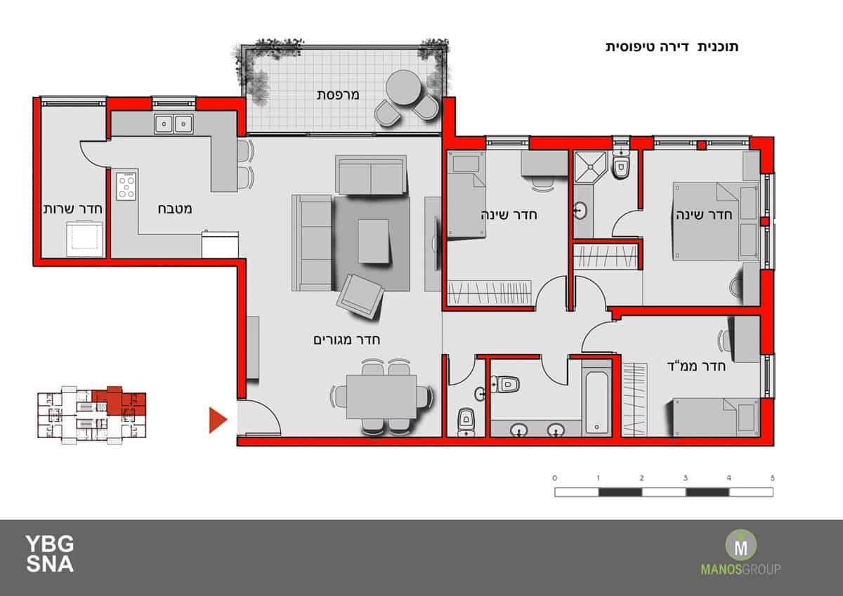 Pinui Binui à Jérusalem – Uruguay, Kiryat Ha'Yovel – Plan d'appartement typique